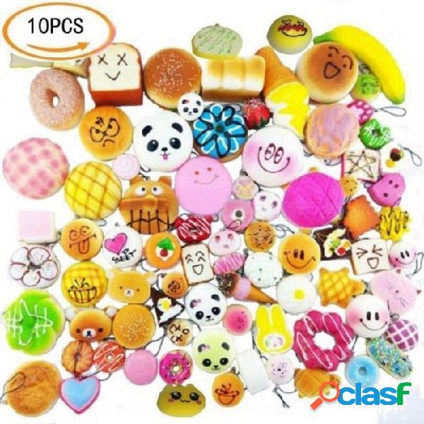 Colorido pan correas blandas softphone gota adorno decoración del teléfono celular juguetes 10 unids / set material de la pu 10 unids / set