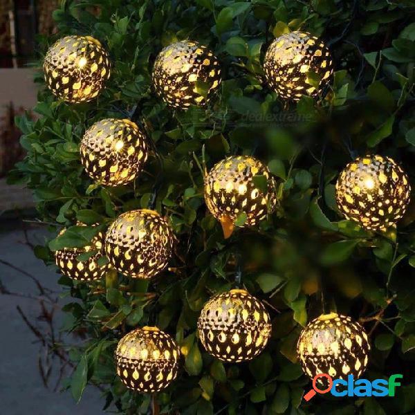 Impermeable 10 led solar accionado luz de hadas linterna marroquí metal plateado luces de cadena lámpara para exterior árbol de navidad blanco cálido