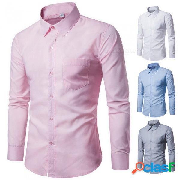 Camisa de manga larga de moda para hombre camisa de corte slim slim negocio casual color negocio negro / m