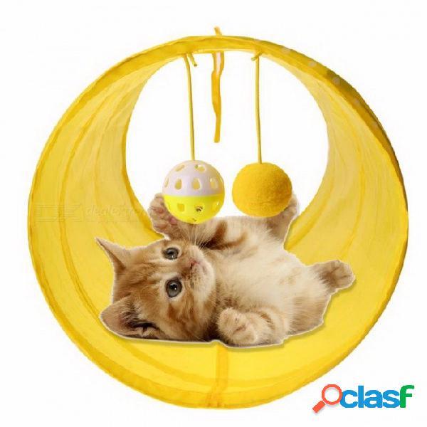 Divertido gato mascota túnel 2 hoyos juego de gato tubos bolas plegables arruga gatito perro juguetes cachorro conejo jugar gato túnel tubos