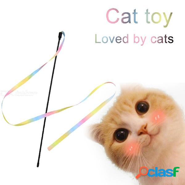 Divertido gato palo colorido tomadura de pelo interactivo de caña de plástico juguetes varillas iris telas para mascotas suministros