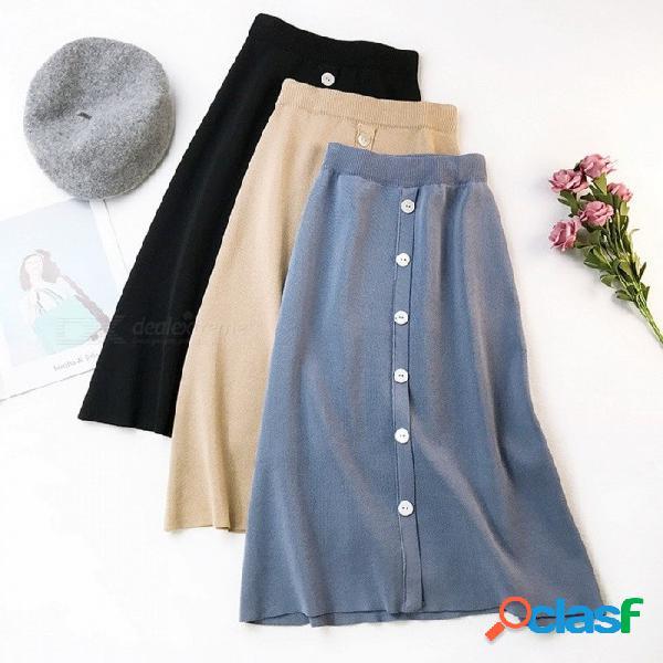 Falda de punto de una línea para mujer y botón de color sólido gran estiramiento cintura alta faldas largas negro / talla única