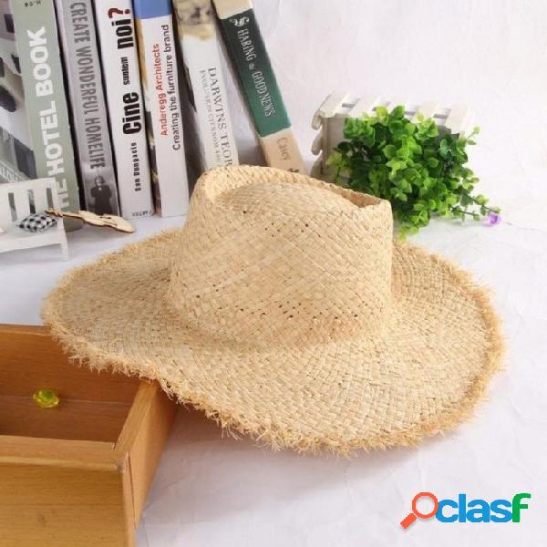 Floppy rafia ala grande sombrero de paja cúpula jazz gorras sombrero moda para mujer sombrero de playa sombreros de sol de verano al aire libre para las mujeres a