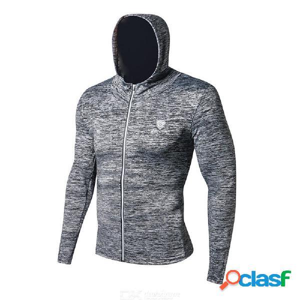 Hombres otoño correr deportes gimnasio chaqueta entrenamiento suéter encapuchado correr al aire libre de secado rápido de manga larga top