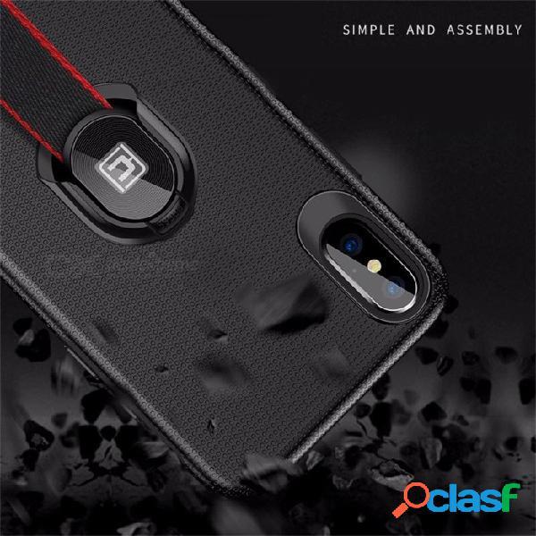 Estuche ultra delgado delgado para la contraportada del teléfono con diseño de soporte de pie de correa tejida para iphone x