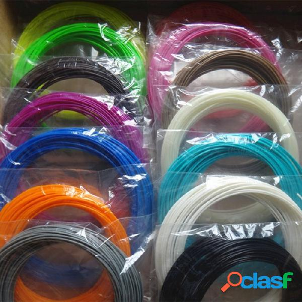 20-color 3d pen filamento pla 1.75mm con material de impresión de caucho plástico para impresora 3d filamento de pluma