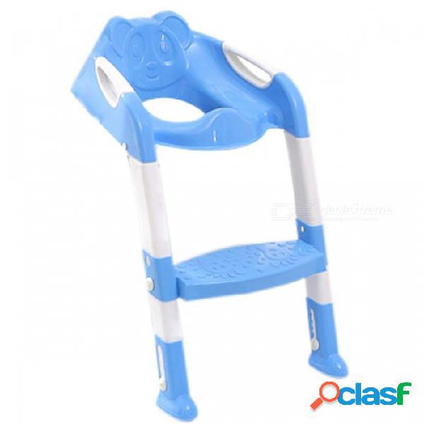 Asiento de inodoro para bebé asiento de inodoro para bebé con escalera ajustable asiento para inodoro infantil asiento plegable 2 colores azul