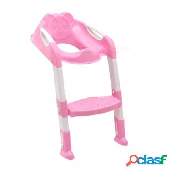 Asiento de inodoro para bebé asiento de inodoro para bebé para baño infantil con escalera ajustable asiento de inodoro para bebé asiento abatible - rosa