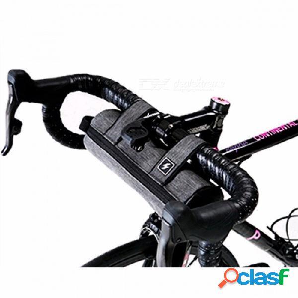 Ciclismo bicicleta de montaña bolsa de manillar bicicleta paquete de viga marco delantero alforjas tubo estante cesta bolsa gris claro / m