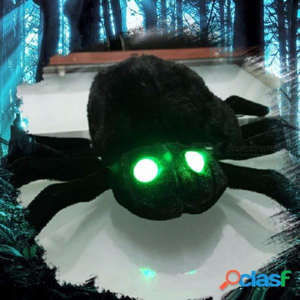 Control de voz suave peluche negro peluche araña divertido juguete de miedo para la decoración de halloween, accesorios de terror fiesta broma broma juguete negro / tamaño