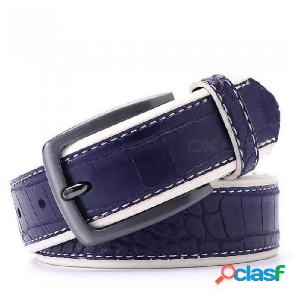 Hombres pu cinturones de cocodrilo imitación cuero cocodrilo patrón diseñador cinturón negro marrón oscuro azul oscuro gris amarillo marrón para elegir 130cm 44to47 pulgadas / marrón oscuro
