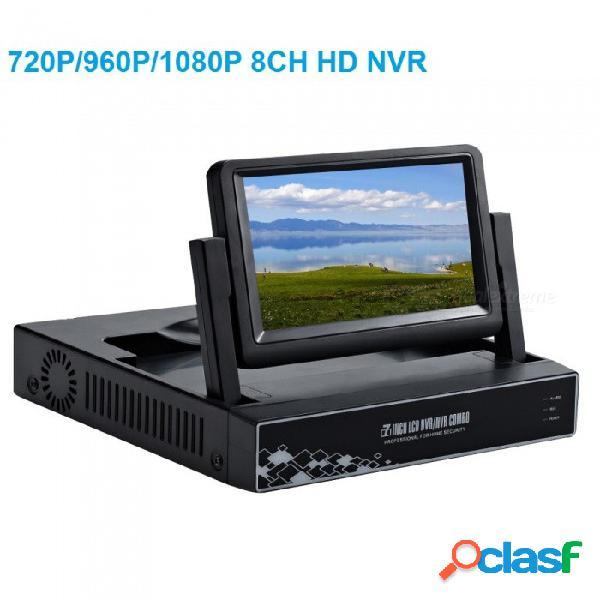 """Pantalla lcd de 7"""" de alta definición de strongshine vista completa de la grabadora de video de red hd 720p / 960p / 1080p de 8 canales en el teléfono inteligente nvr - enchufe de reino unido"""