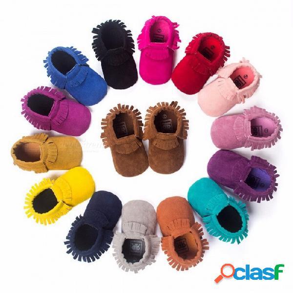 Zapatos de bebé recién nacido de cuero de ante de la pu zapatos mocasines del bebé de la muchacha del niño zapatos moccs suaves franja del bebe calzado antideslizante de suela suave calzado 3