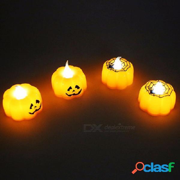 12pcs luz de la noche de la telaraña de la calabaza led creativa, luz de vela electrónica para el hogar decoración del partido de halloween amarillo / naranja / 0-5w