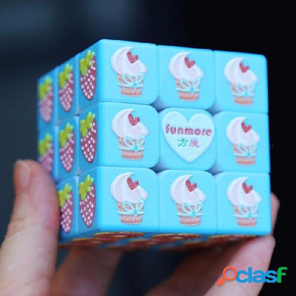 3 x 3 x 3 cubos mágicos rompecabezas rubiks cubo lindo 3d fruta en relieve juguetes educativos regalos para niños niños cielo azul