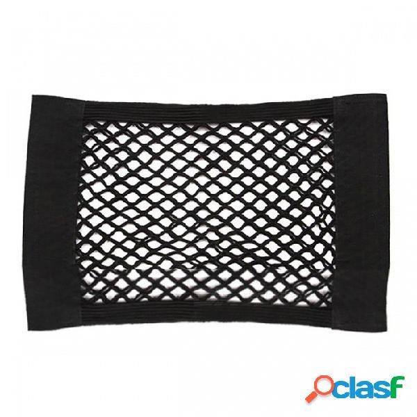 Auto asiento trasero trasero trasero velcro elástico red malla bolsa de almacenamiento organizador de bolsillo para pequeños gadgets - negro