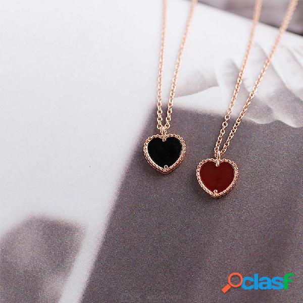 Collar de plata de ley 925 con forma de corazón con forma de corazón con forma de corazón de oro rosa para las mujeres