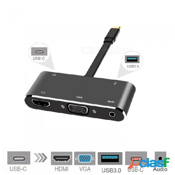 Cwxuan hub usb c hdmi vga, cable de desconexión usb-c tipo-c a hdmi 4k vga usb3.0 usb c pd audio adaptador de cable de acoplamiento de 3,5 mm