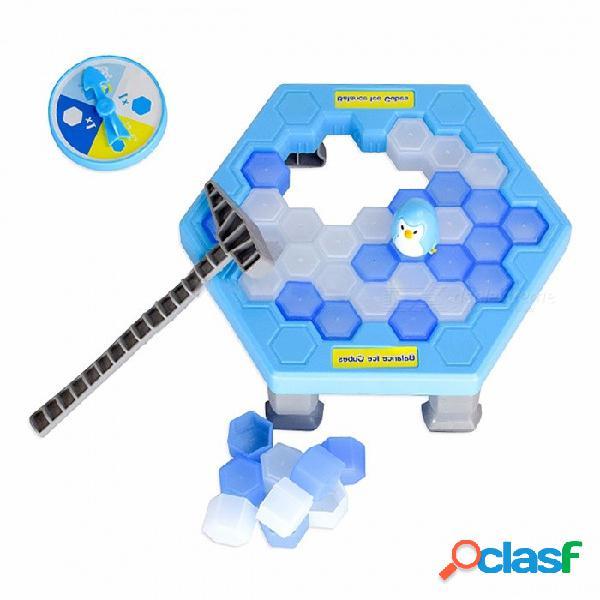 Guardar el pingüino hielo rompiendo juguetes gran familia regalos juego de escritorio divertido juego que hace que el pingüino se caiga pierda este juego azul (caja original)