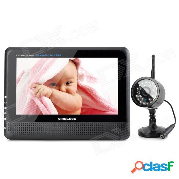 """890 + 706dx1 7"""" tft lcd inalámbrico 4-ch dvr monitor + 0.3mp cmos sistema de seguridad de la cámara w / 24-ir led"""