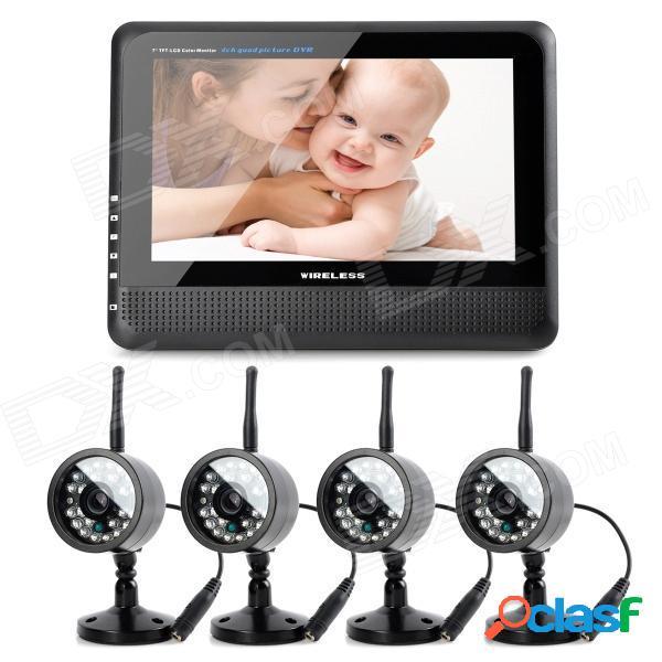 """890 + 706dx4 7"""" tft lcd inalámbrico 4-ch dvr monitor + 4-0.3mp cmos sistema de seguridad de la cámara w / 24-ir led"""