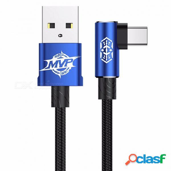 Baseus mvp codo usb3.1 tipo-c cable, 2a cargador usb-c sincronización de datos rápida carga tipo-c cable para samsung nota 8 s8 oneplus 2m / azul