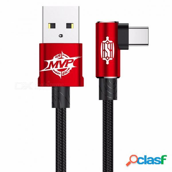 Baseus mvp codo usb3.1 tipo-c cable, 2a cargador usb-c sincronización de datos rápida carga tipo-c cable para samsung nota 8 s8 oneplus 1m / red