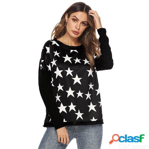 Camisetas de manga larga casual de europa y américa camisetas con cuello en o de estrella de cinco puntas para mujeres
