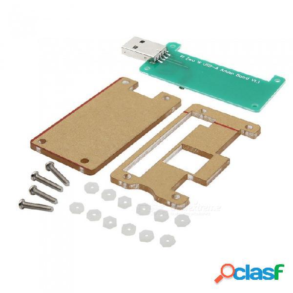 Geekworm estuche acrílico + frambuesa pi cero w usb-a kit de placa de badusb adicional para frambuesa pi cero w