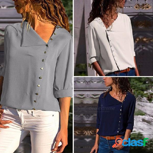 Las nuevas camisas de las mujeres abotonan el cuello irregular sesgado blusa de manga larga gris / blanco / azul marino clx003 gris / s