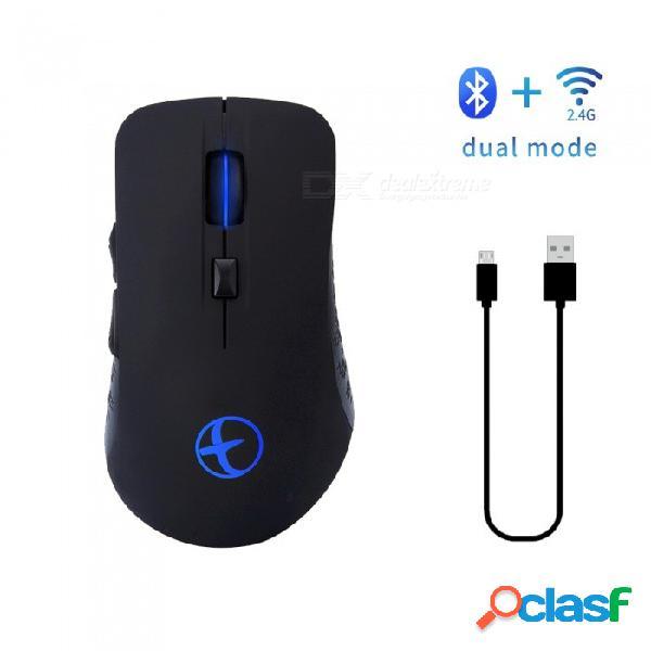Modao recargable bluetooth 4.02.4ghz modo dual ratón inalámbrico para juegos para pc, mac, computadora portátil, tableta android (negro)