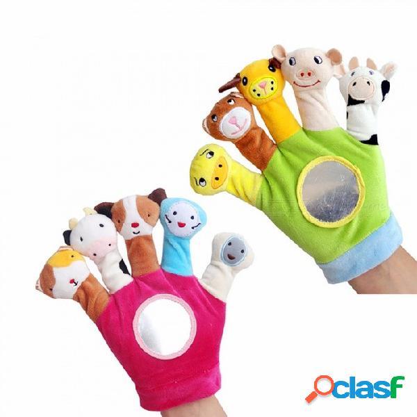 Muñeco de mano animal lindo dedo dedo, muñecas bebé muñecos de peluche de juguete para la hora de dormir, juguetes de navidad para niños de color verde claro / 11cm-30cm