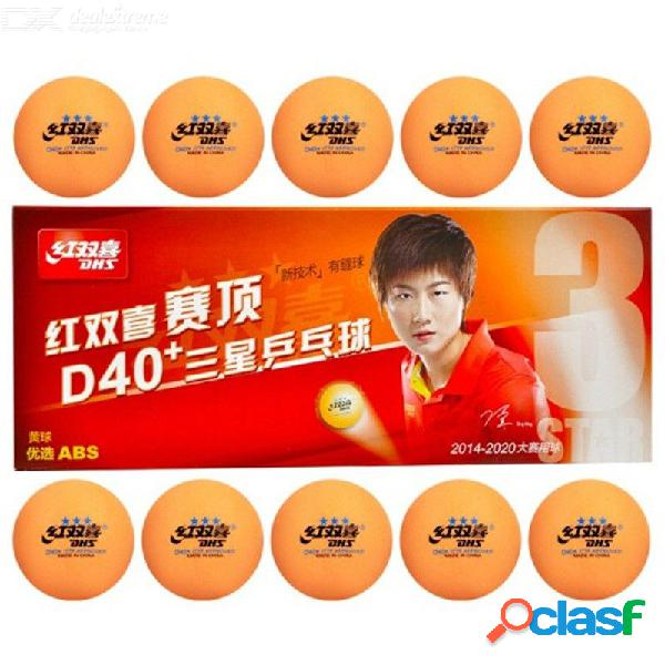 10 unids dhs 3 estrellas pelotas de tenis de mesa nuevo material 3 estrellas cosido plástico abs pelotas de ping pong