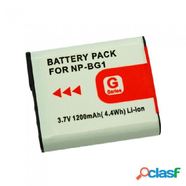 Adecuado para la batería de la cámara de sony np-bg1 con decodificación completa 1200 mah batería de litio blanco + negro