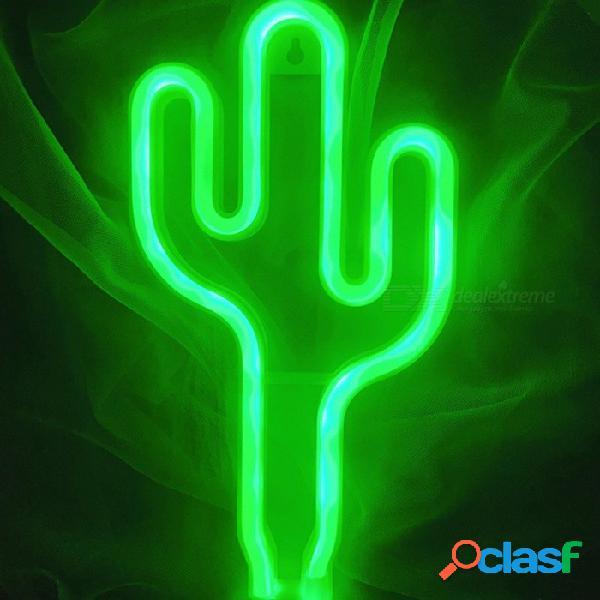 Cactus en forma de novedad luces de neón con pilas led luces de hadas decorativas luz de la noche luz del partido verde / claro / 0-5 w