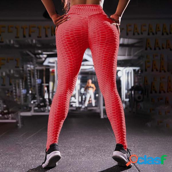 Las mujeres de jacquard de cintura alta empujan hacia arriba las polainas del gimnasio disponibles pantalones de yoga delgados