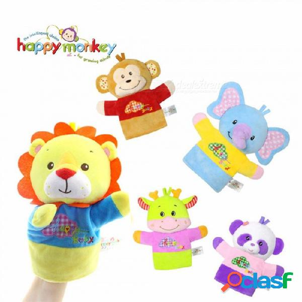 Mono feliz animales divertidos marionetas de mano para bebés bebés, cuentos antes de dormir juguetes de cognición de felpa suave para niños amarillos