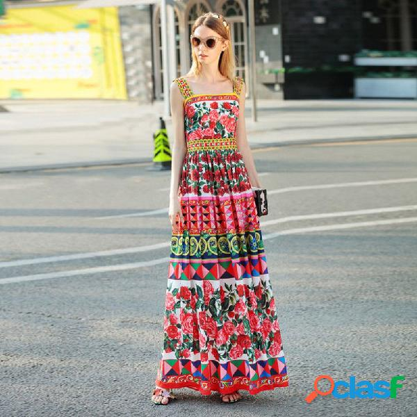 Vestido de verano de moda estampado floral retro patchwork correa de espagueti maxi vestidos para mujeres