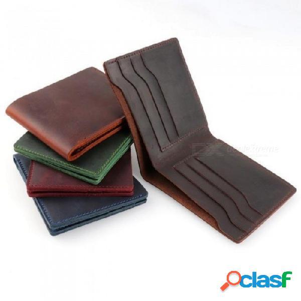 Carteras de cuero monedero bifold vintage caballo loco embrague de cuero carteras de hombres monedero retro monederos de hombre carteras negras