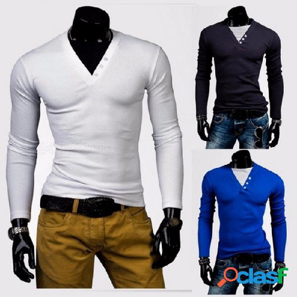 Nueva moda masculina cuello en v hit color patchwork manga larga camiseta marea camisas para hombres blanco / m