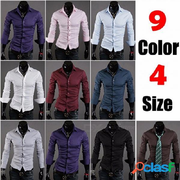 Nuevos hombres jóvenes coreanos delgados camisa delgada de manga larga moda casual color sólido camisas simples
