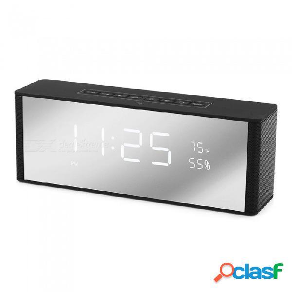 Zapet altavoz portátil bluetooth altavoz inalámbrico estéreo música caja de sonido con led reloj de alarma de reloj de hora negro