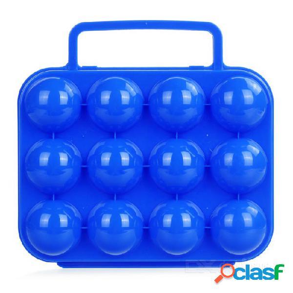 Caja de la caja de plástico 12 huevos de transporte de contenedores de almacenamiento para picnic - azul