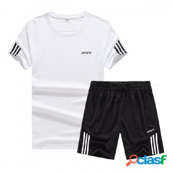 Camisetas y pantalones cortos para chándal casual para hombres que corren deportes atléticos set negro / m