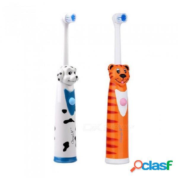 Cepillo de dientes eléctrico con pilas 2pcs + 4 cabezas del cepillo cepillo de dientes rotatorio sónico cepillos de dientes automáticos rotativos de los niños 2 pc