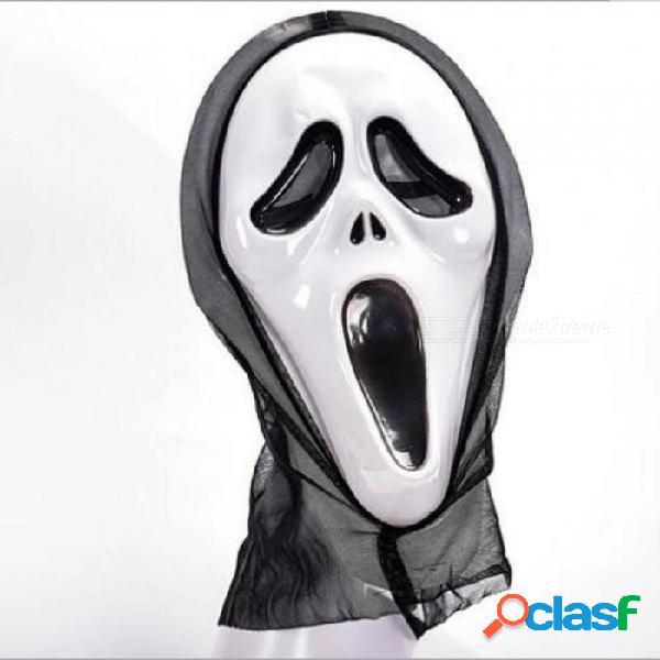 Halloween máscara de miedo cráneo fantasma miedo miedo completo máscara facial mascarada fiesta vestido traje adulto fiesta cosplay festival negro