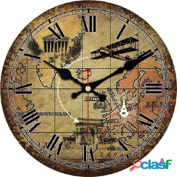 Moda Vintage Mapa Del Mundo Reloj De Pared, Estudio De Vida Silenciosa Cocina Baño Hogar Pared Decoración Arte Reloj Reloj Grande