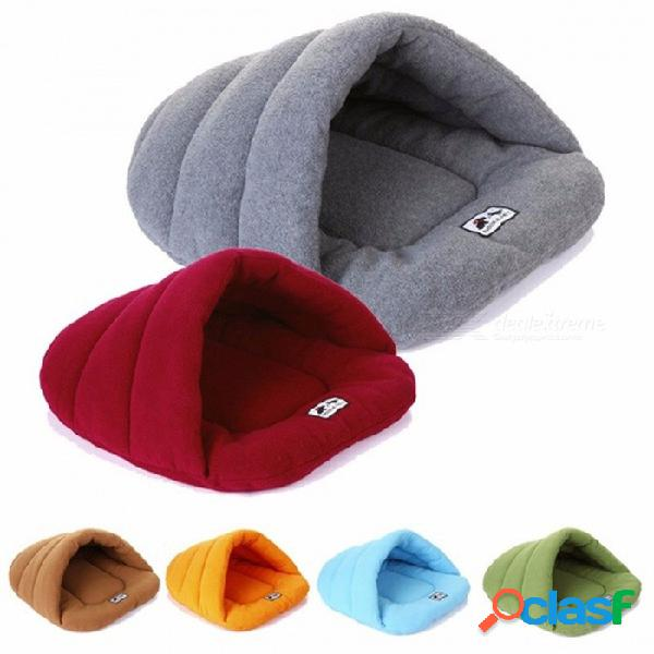 Suave lana invierno cálido perro mascota cama pequeño perro gato saco de dormir cachorro cama cueva borgoña