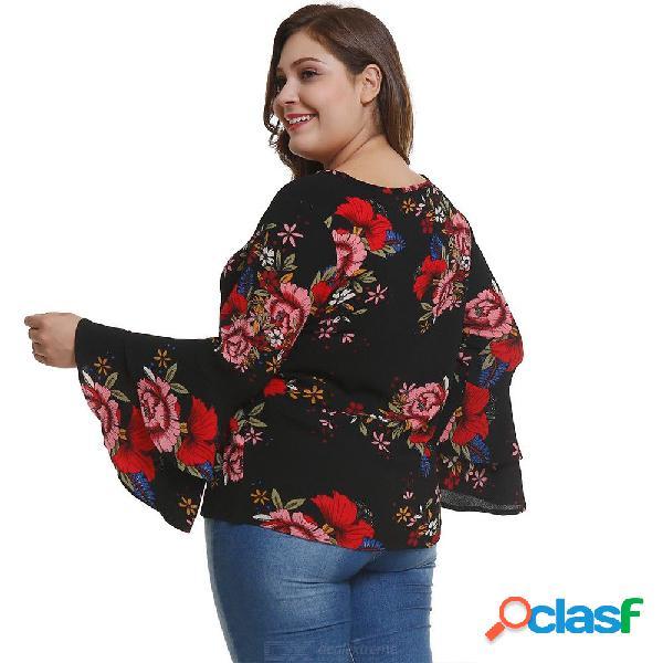 Camisas de gasa de europa y américa o-cuello flare manga larga estampado floral camisa de talla grande para mujeres