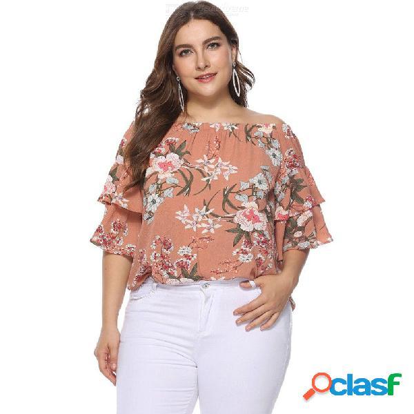 Camiseta De Manga Corta Con Estampado Floral De Manga Corta Con Estampado De Flores, Camiseta De Gasa Y Camisa De Gasa Para Mujer